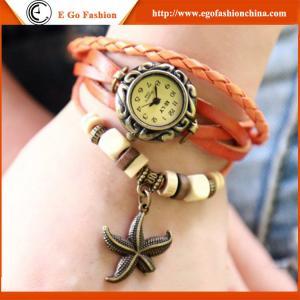 China Starfish Pendant Watch Unisex Girls Watch Female Gift Wristwatch Leather Bracelet Watch on sale