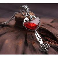 Sterling silver garnet pendant necklace gemstone silver jewelry necklace for her