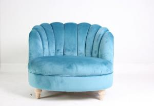 China Blue event fancy accent chair comfortable relax chair upholstery wooden chair with velvet fabric on sale