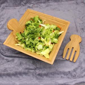 China Bamboo Salad Bowl Set with Serving Hands, includes large square bowl and matching salad servers on sale