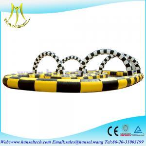 China Hansel pista doble inflable del popkart amarillo/del negro para los juegos del deporte on sale