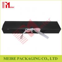 Art Card hair extension packaging black color glossy printing hair box with ribbon closure