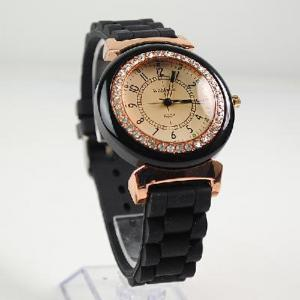 China Women Men's WOMAGE Rubber Quartz Jelly Candy Wrist Watch Black on sale