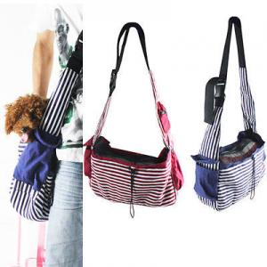 China Striped Canvas Sling Bag Pet Carrier For Dog/Cat Travel Bag Red,Blue on sale