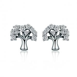 China Fashion Women Clear CZ Sterling Silver Jewelry Stud Earrings Tree of Life Design on sale