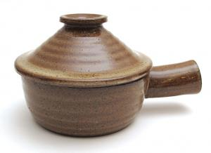 China Brown Ceramic Small Kitchen Tools , Hand Made Microwave Stone Cookware on sale
