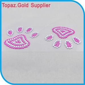 China Leopard foot print glass crystal sticker pink rhinestone sticker for crafts/toys on sale