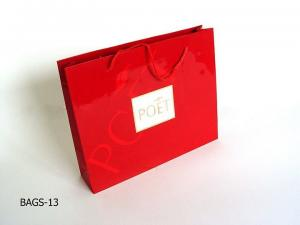 China Pantone Red and White Customized Printed Craft Recycled Paper Shopping Bags on sale