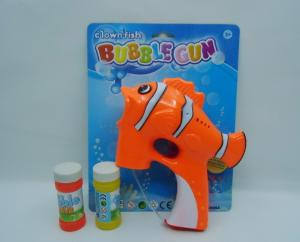 China Plastic Light Up Toy Musical And Flashing Transparent Fish Bubble Gun For Children on sale