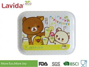 China Shatter Proof Square Shape Melamine Food Tray 3-PC Set Sweet Cute Cartoon Printing on sale