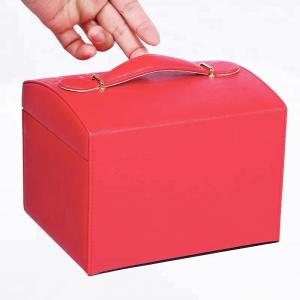 China Travel / Gift Red Leather Jewelry Box Durable With Mirror Multi Components on sale