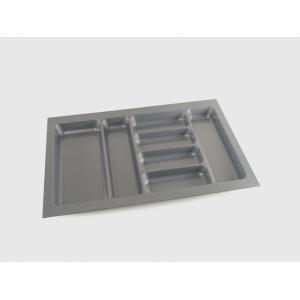 China Grey expanding plastic cutlery trays for kitchen drawers 830 x 485 x 50mm on sale