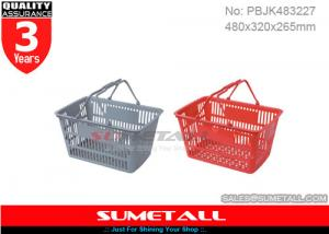 China OEM Service 28L Plastic Shopping Basket With Handles / Hand Baskets For Shopping on sale