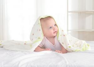 China Lovely Organic Cotton Fabric Printed healthy Fleece Baby Blanket With Bound Edge on sale