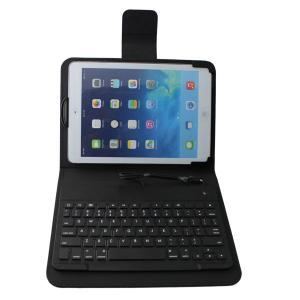 China Black Wired Ultrathin Leather iPad Case with keyboard , 8-pin connect on sale