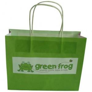 China Cute Paper Carrier Bags Biodegradable Green with Vest Handle on sale