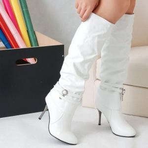 China Hot fashion Women lady white high heel knee party wedding boots shoes US5-8 BO07 on sale