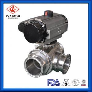 China Clamped 3 Way Sanitary Ball Valve High Flow Ability Pneumatic Ball Valves on sale