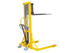 China Adjustablemanual Hydraulic Pallet Stacker , Straddle Stacker Forklift High Efficiency on sale