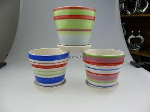 China Ceramic Colorful Stripes Flower Pot on sale