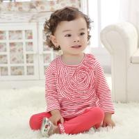 flowers spring new 2 color stripe baby suit baby wear two-piece outfit (0-3 Year)
