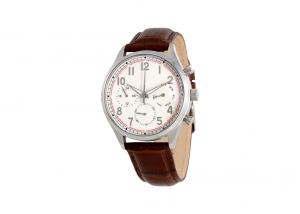 China Genuine Leather Mens Stainless Steel Watches 100M Water Resistant 22mm Solid Band on sale