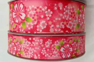 China Customized Print Satin Grosgrain Ribbon with Logo For Wrapping Decoration Garment on sale