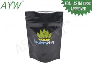 China Opaque Black Stand Up Zipper Bags Light Barrier Doypack For Kratom Capsules on sale