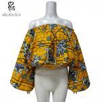 二重層のパフ・スリーブの肩の大きいサイズを離れた女性のためのアフリカの印刷物の上