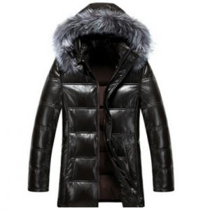 China Cool Winters Hooded Anorak Jacket With Fur Hood , Mens Padded Leather Jacket on sale
