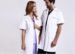 China Unisex Practical White Doctor Lab Coat Eco - Friendly Unique Design With Buttons on sale