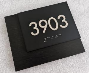 China Square Corner 1/32 ADA Room Number Signs White Tactile Text With Brushed Laminated Backer on sale