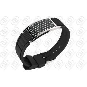 China Bracelet magnétique ionisé de bijoux de fibre de carbone de silicone, bracelet magnétique de thérapie on sale