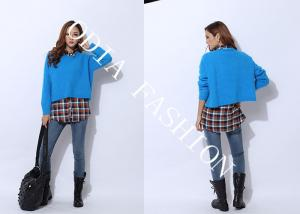 China Blue Womens Pullover Sweaters Crew Neck in Bat Sleeve and Irregular Bottom Hip on sale