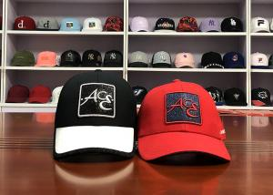 China Different type of ACE brand custom design your own logo color 6panel red baseball caps hats on sale