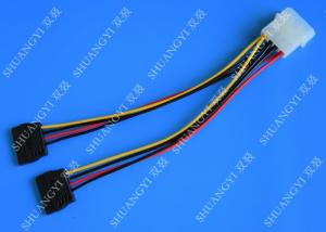 China 4P Molex To Dual SATA Flat Wire Harness And Cable Assembly Black Red Yellow With Y Cable Adapter on sale