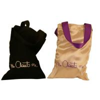 China Closet Satin Bag, Fabric Carrier Bags Printed With Ribbon Handle 18 * 23 mm on sale