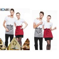 Woven Cotton Cute Cooking Aprons , Short Red Apron For Men And Women