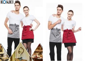 China Woven Cotton Cute Cooking Aprons , Short Red Apron For Men And Women on sale