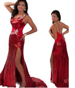China Red Black Sequined One Shoulder Miss USA Pageant Dress Party Dress RO11-04 on sale