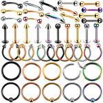 Steel Ear Piercings Helix Piercings Eyebrow Piercings Lip Labret Rings Earring Tragus Barbell Piercings Body Jewelry