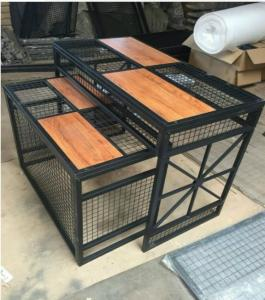 China Iron Wire Tube And Wood Garment Shop Display Tables For Sport Clothing Store on sale