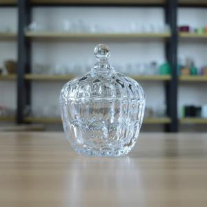 China unique Shape Glass Candy Canisters engraved glass candy jar with lid glass storage jar for containing food sugar on sale