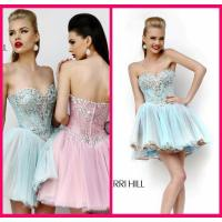 Light Blue Homecoming Dress Sweetheart Mini Short Beading Appliques Zipper