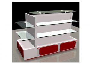 Quality White Gondola Shop Shelving With 2mm Thickness Glass Shelf , Recyclable Liquor for sale