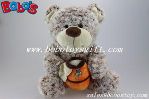 China 14.5Dark Brown Flower Plush Material  Bear Toy With Honey Pot As Boy Toys on sale