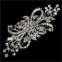 OEM large flower SPECTACULAR bold vintage crystal bridal brooch for wedding