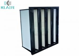 China ABS V Bank Filter , Pleated HEPA Air Filters HVAC System With Plastic Frame on sale
