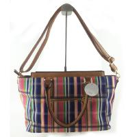 China Combination Striped Women Canvas Handbags With Pocket 40 * 35 CM on sale