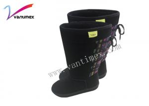 China Black Comfortable knee high winter boots thickening flat winter boots on sale